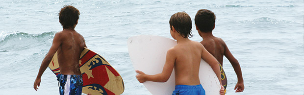 Boys with Wave Boards