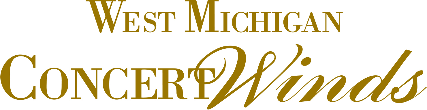 White background with gold font with the words West Michigan Concert Winds
