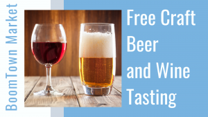 A glass of beer and a glass of wine with print saying there is a free beer and wine tasting