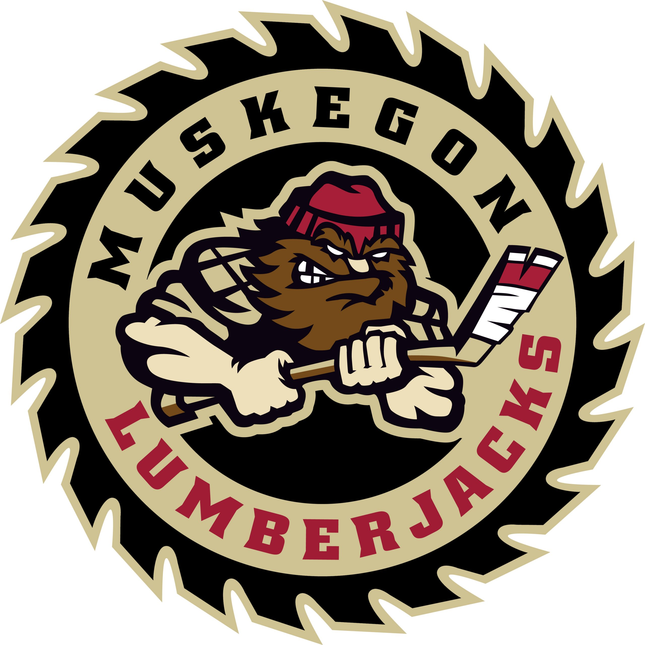 Black and tan saw blade with the heading Muskegon Lumberjacks with a lumberjack man in the center with a red cap on holding a hockey stick