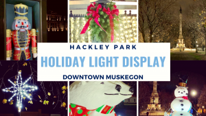6 pictures of Holiday photos such as a nutcracker, star, polar bears,snowman, wreatha and statue all located in Muskegon Hackley Park