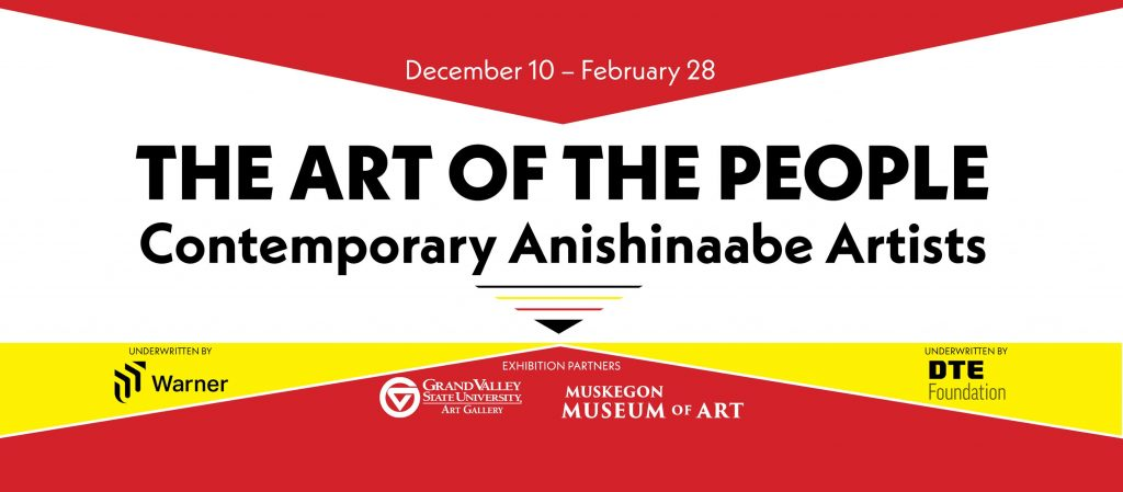Rectangle shape 3-D prism of bright red, yellow and white with The Art of the People written on the front from the Muskegon Museum of Art