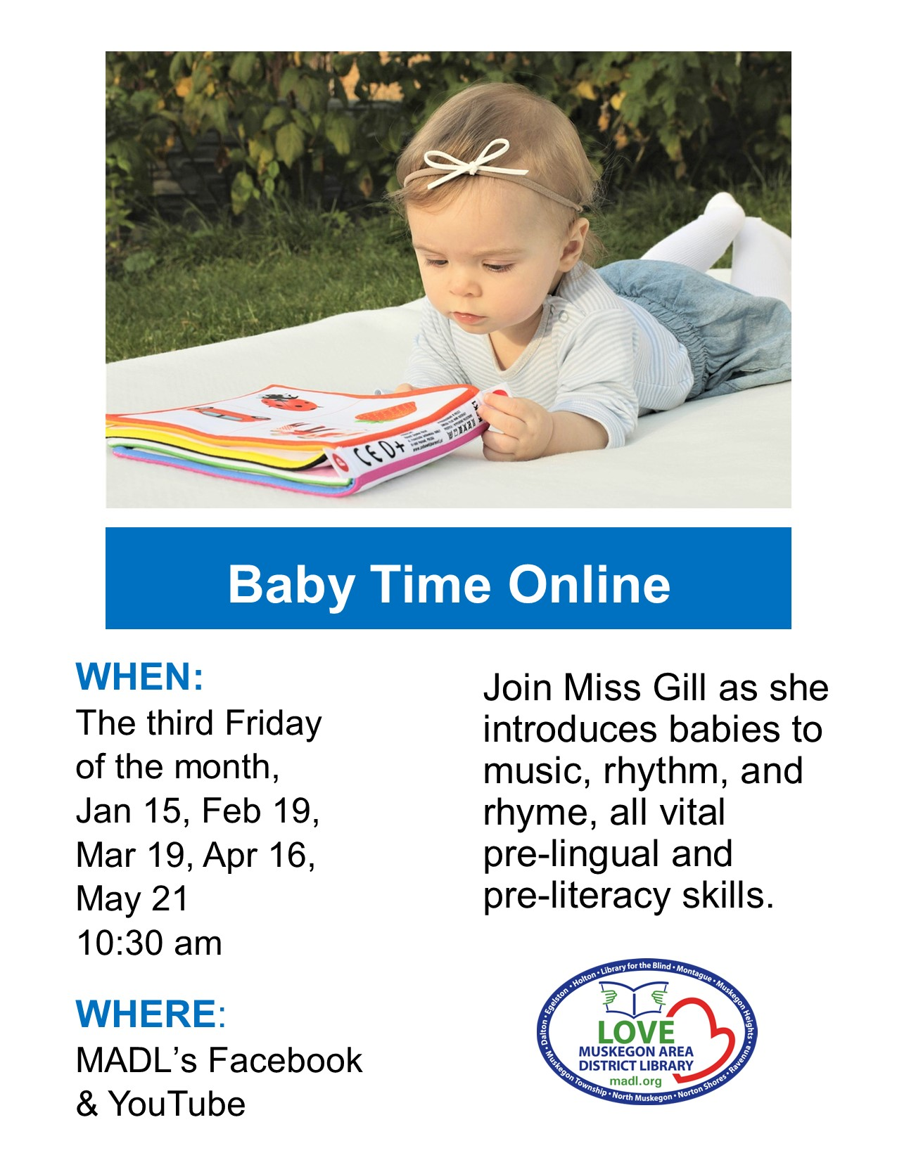 A little baby girl about 8 months old with a bow in her hair laying on her belly looking at a book with caption Baby Time Online.