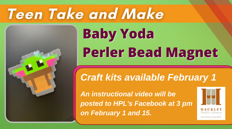 Teen Take and Make Craft – Baby Yoda Perler Bead Magnet