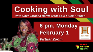 A woman sitting with a trophy. She has pink hair and a blouse with pink and green circles on it. Caption reads Cookig with Soul with Chef Lakisha Harris from Soul Filled Kitchen for Black History Month