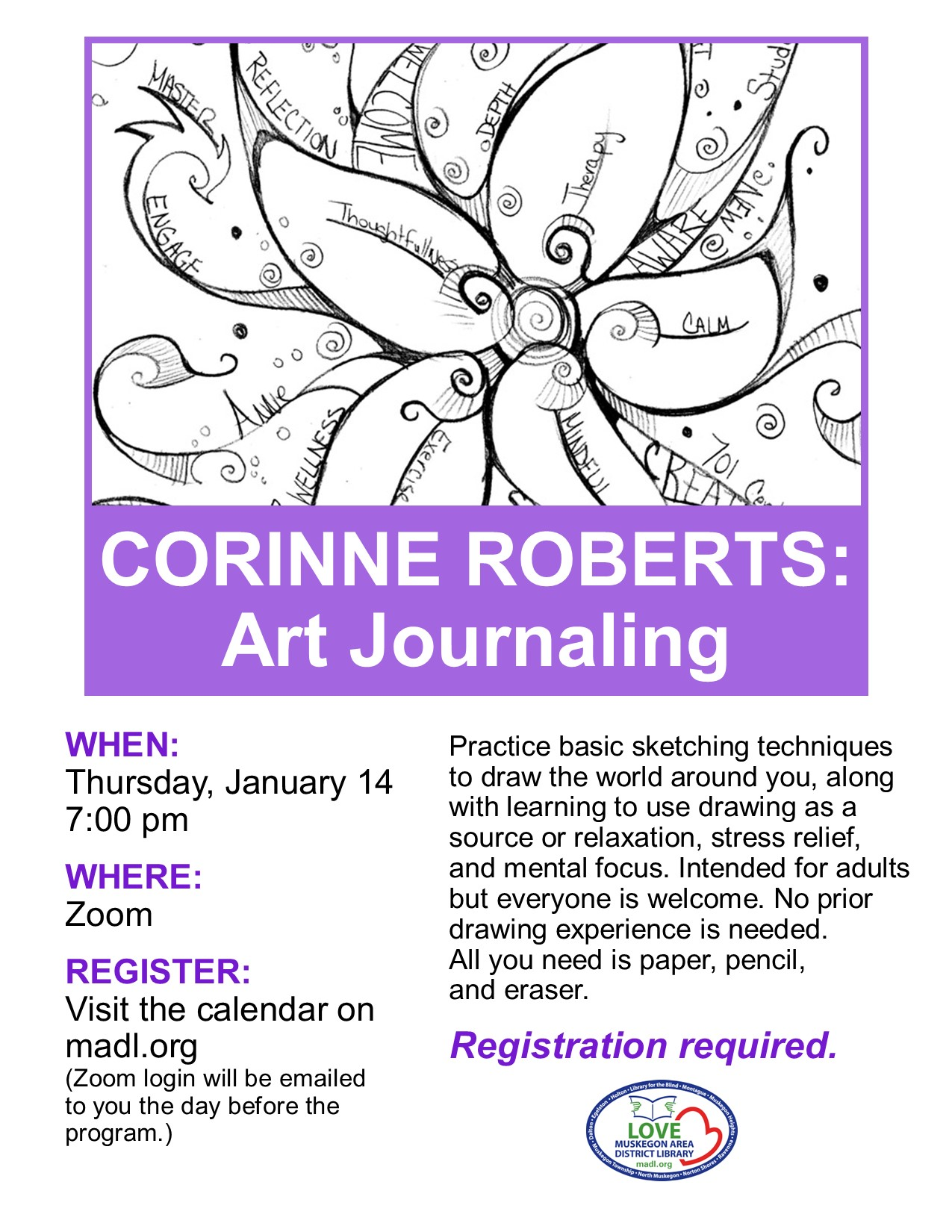 Black and white drawing of a flower with large petals. The caption reads Corinne Roberts: Art Journaling