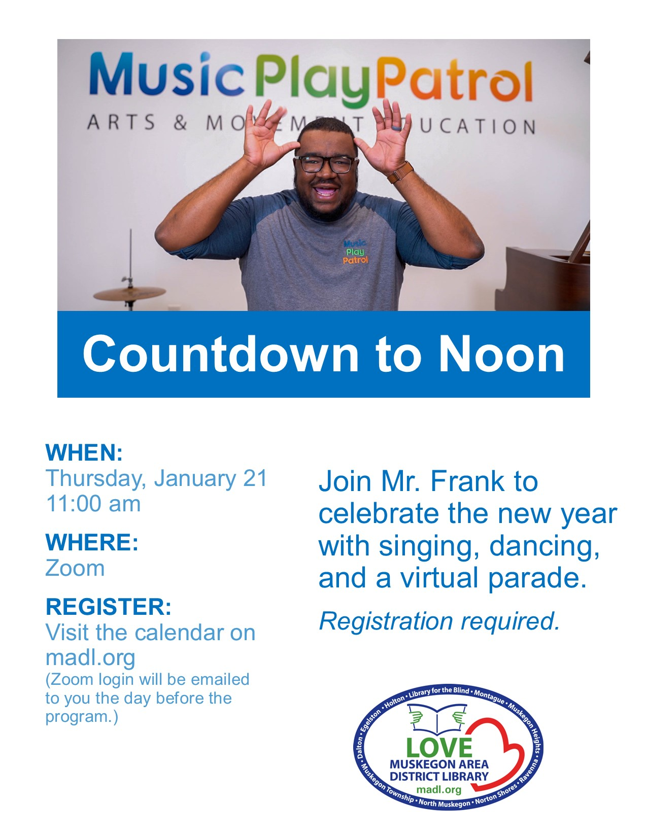 Man with glasses on and mouth open holding his hands up to his head like antlers and caption reading Music Play Patrol Countdown to Noon
