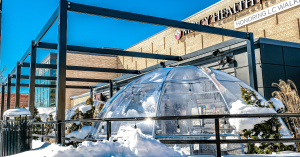 outdoor dining igloo sits beneath black steel beam framework. a snowbank is in the foreground and the sky is bright blue.