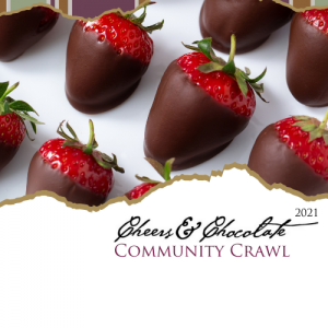 chocolate covered strawberries on white background text reads cheers and chocolate community crawl