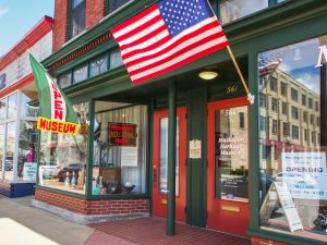 Heritage Museum entrance with American flag