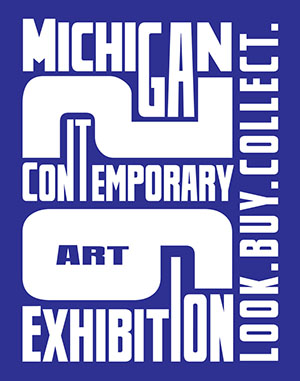 Dark blue graphic with text that say michigan contemporary exhibition with large numbers 26