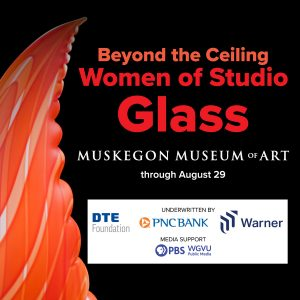 black square graphic with orange and red text that says Beyond the Ceiling Women of Studio Glass MMA. a portion of orange art glass is to the left of the text