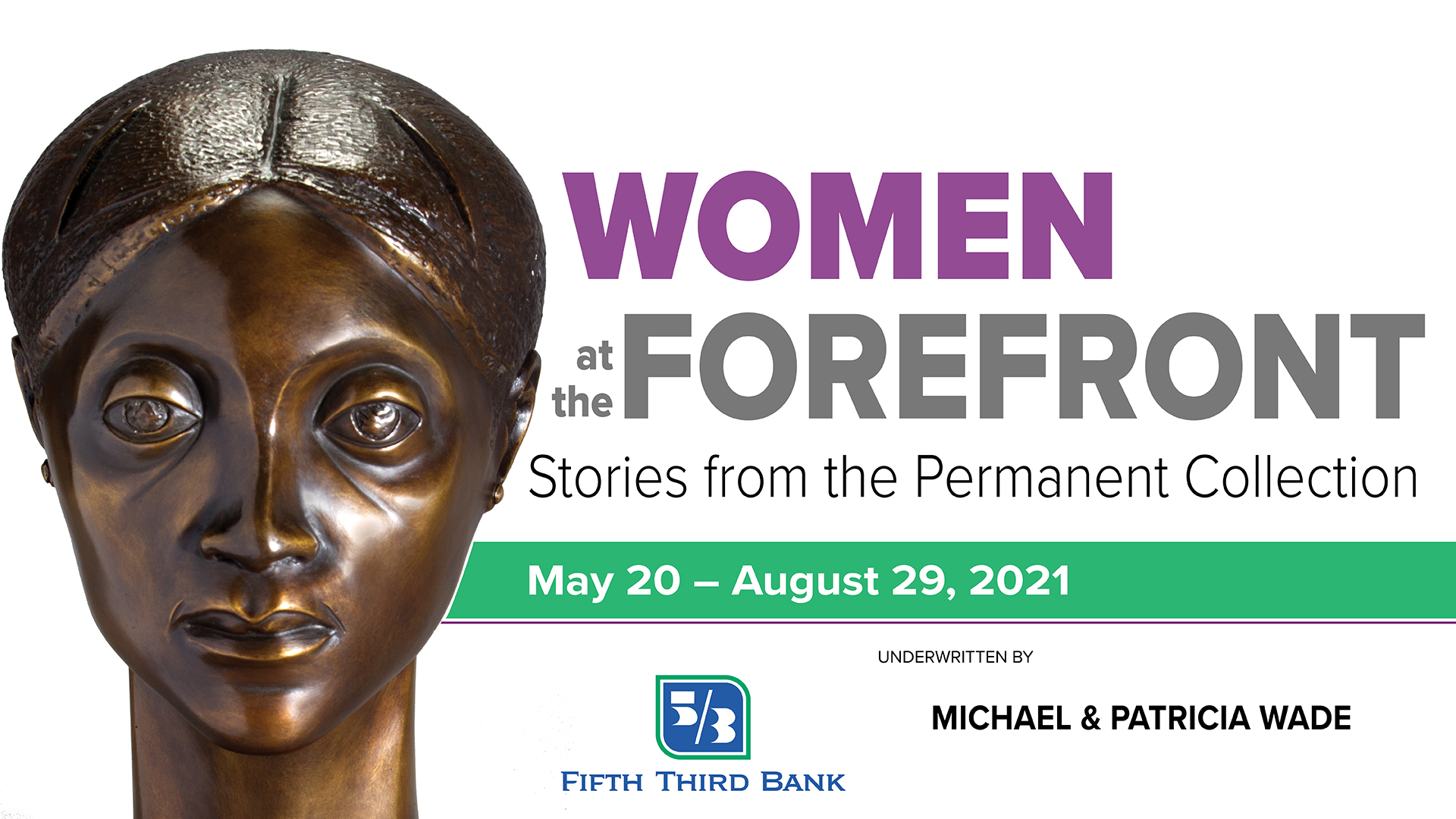 bronze bust of woman's head sits to the left of purple and grey text women at forefront for muskegon museum of art