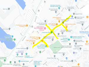 map showing highlighted streets indicating they are closed