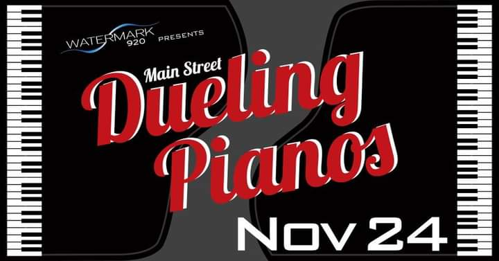 Piano keys on the sides with red lettering in the middle that reads Dueling Pianos